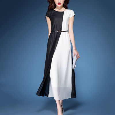 反季真丝连衣裙女夏2020新款法式高贵重磅桑蚕丝纯色宽松中长款潮