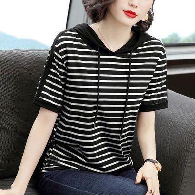 时尚春装t恤女短袖2020新款韩版减大码宽松条纹连帽夏季时髦上衣