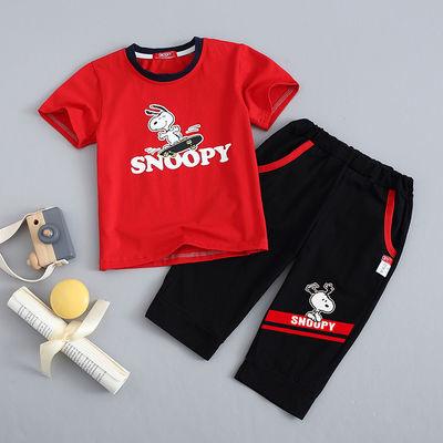 史努比男童夏裝套裝男童短袖套裝新款兒童夏裝男兒童七分褲套裝潮