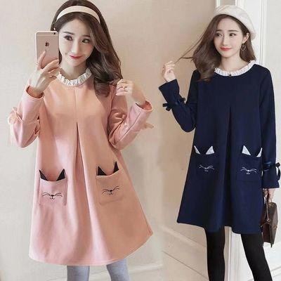 2020新款孕妇装秋冬装套装潮妈孕妇连衣裙长袖两件套装春秋季孕妇