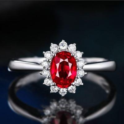姐姐同款复古红宝石戒指 玫瑰金戒指女 乘风破浪纯银首饰戒指盒