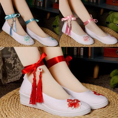 古风改良汉服鞋子女搭配古装协商白色帆布鞋刺绣花增高绑带舞蹈鞋