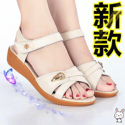 【新款/真皮】妈妈凉鞋女坡跟软底女士防滑中年妈妈凉鞋大码 牛皮