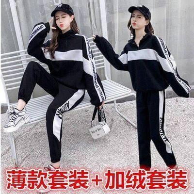 春秋冬韩版学生原宿卫衣加绒加厚套装宽松大码女装休闲运动两件套