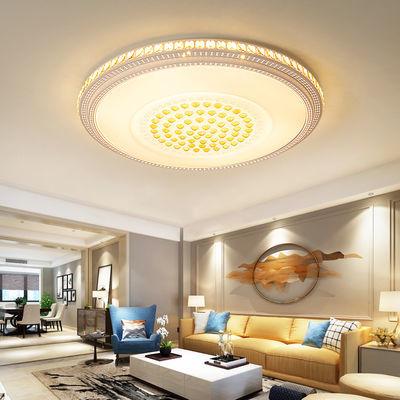客厅灯水晶灯LED吸顶灯圆形卧室灯简约现代温馨长餐厅房间灯具饰