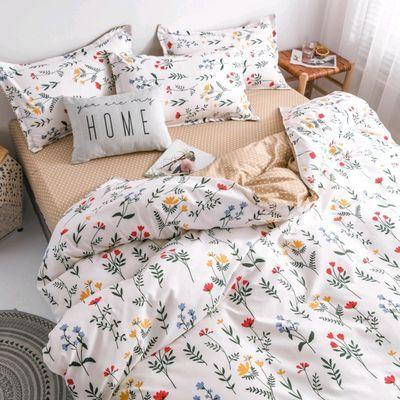 万梓芦荟棉四件套纯水洗棉被套床单枕头套件学生儿童特价床上用品