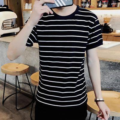夏季潮牌男女情侣条纹衫男士上衣服短袖T恤韩版修身圆领半袖衣服