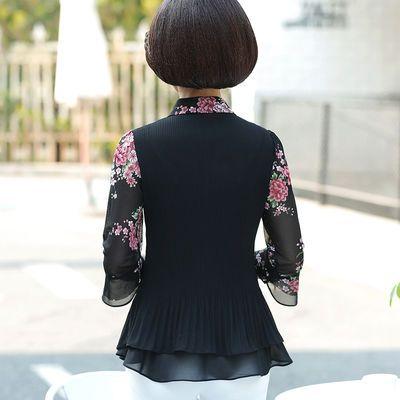 中年女夏装短袖T恤雪纺衫40-50妇女妈妈装春装衣服中袖洋气上衣