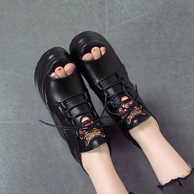 2020韩版内增高女鞋透气网纱高跟鱼嘴凉鞋夏季松糕厚底坡跟学生鞋