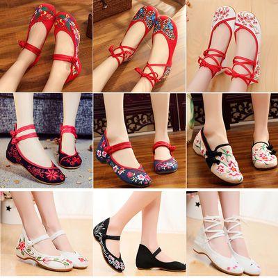 老北京女布鞋民族风绣花鞋坡跟鞋红色婚鞋广场舞蹈鞋汉服单鞋子女