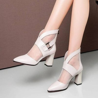 2020春季新款网纱单鞋短靴中筒靴女皮靴粗跟短筒靴中跟尖头高跟鞋