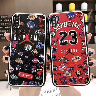 NBA乔丹适用苹果8plus手机壳x/xr防摔7p女潮牌xsiphone11pro max