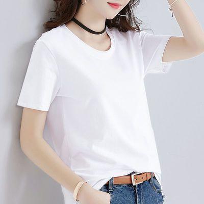 白色T恤女短袖夏装2020新款宽松女装体恤ins潮打底衫上衣服黑