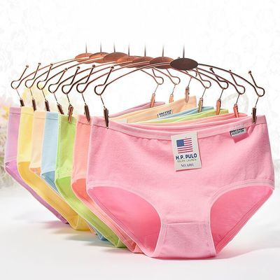 5/10条女士棉质内裤女纯色蕾丝边中低腰大码内裤棉少女包邮三角裤