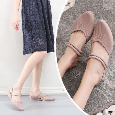 凉鞋女夏季外穿尖头中跟包头时尚休闲上班百搭新款坡跟凉拖鞋