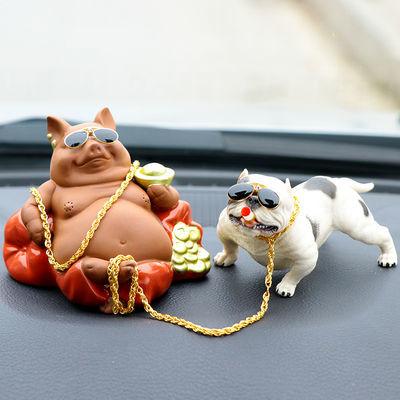 创意汽车摆件社会狗恶霸犬车内装饰品车上用品个性可爱小猪猪摆件