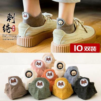 袜子女韩版刺绣船袜棉质浅口袜隐形低帮日系短筒夏季薄款学生船袜