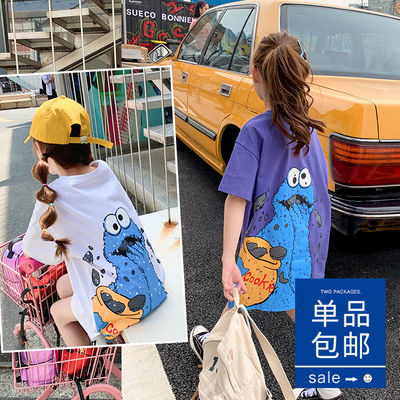 女童短袖t恤裙2020新款韩版宽松童装中大童洋气中长款儿童上衣夏