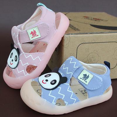 宝宝防踢布凉鞋2020夏男女童机能凉鞋婴儿学步鞋软底防滑熊猫鞋款