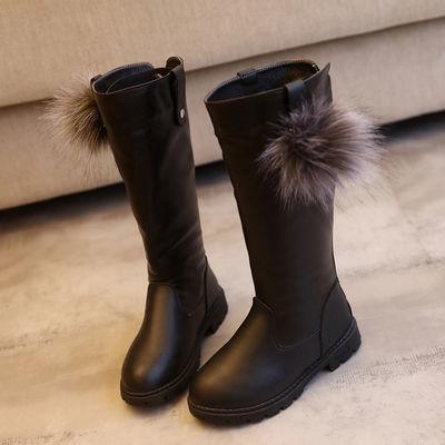 加绒3-12岁女童长筒靴子鞋秋冬中大童加绒雪地靴高筒儿童马丁靴子