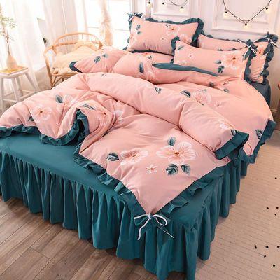 公主风床裙式四件套加厚斜纹床裙被套床单枕套高档网红床上用品