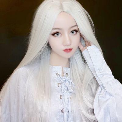 2020新款银白色中分长直抖音发套男女万用动漫cos古装影视道具化