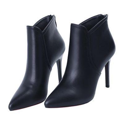 尖头超高跟鞋冬季性感细跟短靴女简约加绒及踝靴2019新款马丁靴