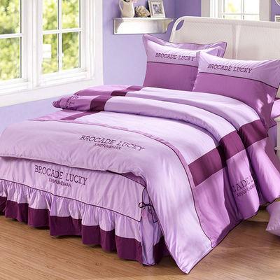 纯棉床单被套床上四件套床上用品全棉双人床裙床罩被罩结婚公主风