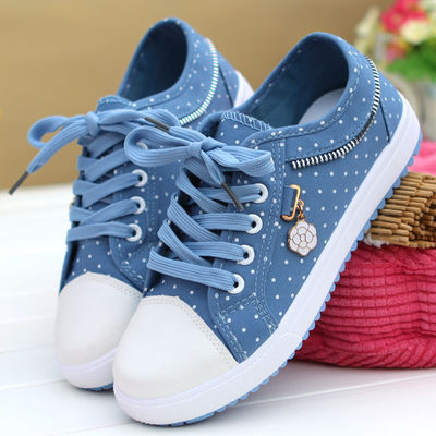 春秋季透气学生帆布鞋女单鞋韩版低帮平底牛仔布鞋休闲运动板鞋子