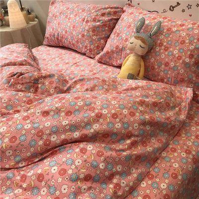 浪漫粉红色敲洋气的美式田园风小碎花四件套全棉纯棉床品被套床单