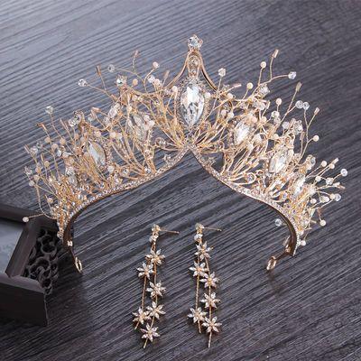 新款金色公主皇冠头饰新娘结婚大气欧美婚纱婚礼生日头饰王冠
