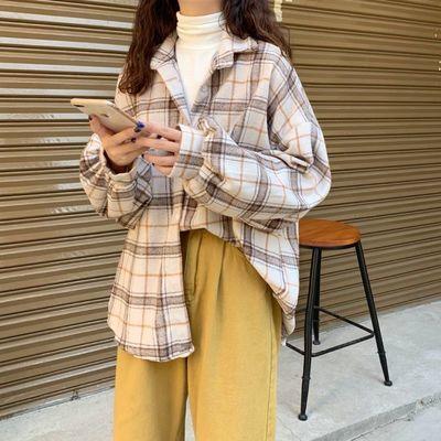 新款春季原宿蝙蝠袖衬衫女bf风中长款宽松韩版大码格子衬衣开衫外