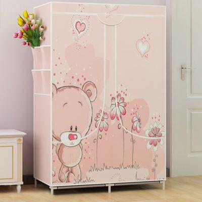 简易衣柜布衣柜收纳架柜子储物柜钢管加粗加固单人收纳柜卧室家具