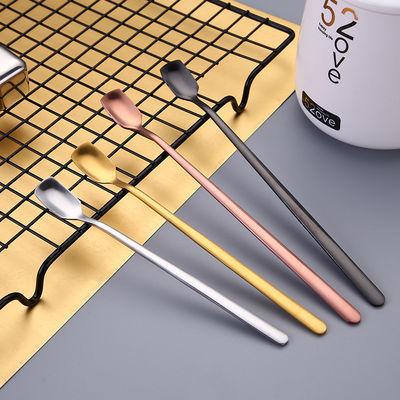 创意方头咖啡勺韩版可爱冰勺长柄甜品勺网红小勺子不锈钢搅拌勺子