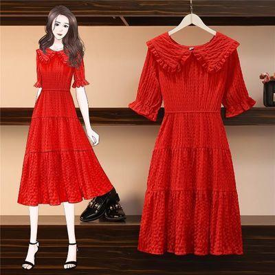 胖妹妹大码女装2020年新款夏季红色裙子洋气胖mm显瘦雪纺连衣裙潮