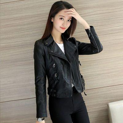 S-3XL 皮衣女春秋韩版短款显瘦pu水洗皮机车拉链皮夹克女士外套潮