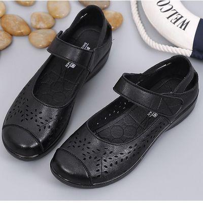 夏天新款凉鞋防滑软底真皮镂空女皮鞋中老年妈妈鞋大码平底洞洞鞋