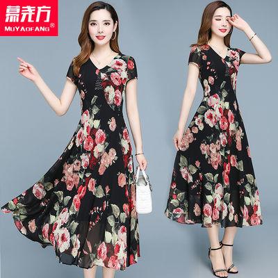 雪纺连衣裙女2020夏季新款气质流行过膝显瘦高贵阔太太洋气贵夫人