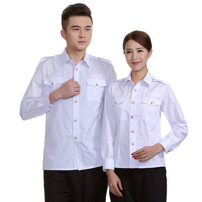 白色保安服短袖衬衣男女物业夏天工作服套装夏季长袖衬衫制服夏装