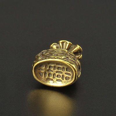 爆款创意聚财钱袋钥匙扣复古纯黄铜招财挂件手把件精致礼品饰品潮