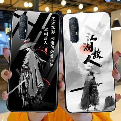 寒江孤影opporeno3手机壳中国风江湖故人钢化玻璃opporeno3pro保