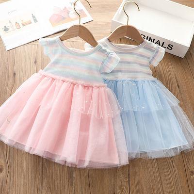 女童可爱连衣裙蕾丝短袖蓬蓬裙儿童小女孩公主裙纯棉春夏条纹裙子