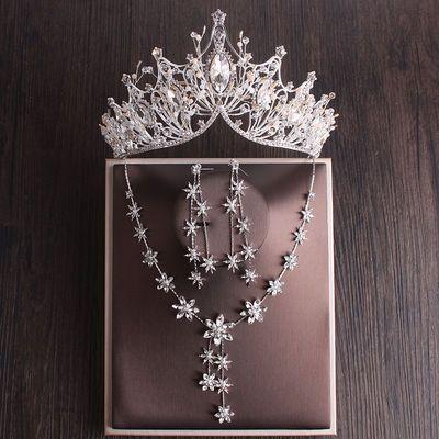 新娘皇冠头饰三件套新款大气王冠韩式项链耳环结婚礼服配饰品