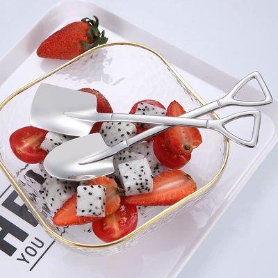 复古304不锈钢铁锹咖啡勺子 尖铲平铲美食勺创意雪糕水果搅拌汤勺