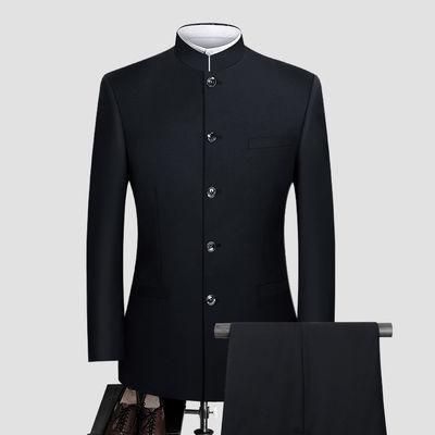 新款中山装男青年修身韩版套装中华立领西服中国风春秋中式礼服唐