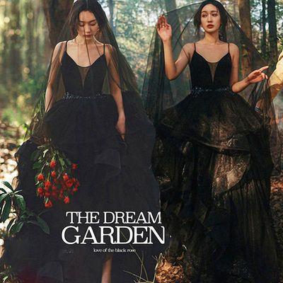 森系网纱情侣外景拍照深V领礼服摄影写真黑色婚纱影楼主题服装