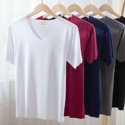 夏季男士T恤冰丝无痕短袖弹力 V领纯色薄款汗衫运动透气修身打底