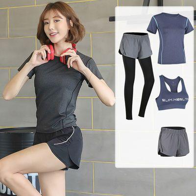 娇玲蝶运动套装女士夏季健身房跑步瑜伽服速干衣短裤短袖两件薄款