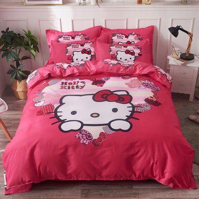 高档四件套大红婚庆套件卡通大版中式风格被套床单枕套床上用品