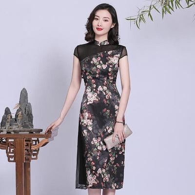 新式仿真丝旗袍改良版连衣裙女2020夏季新款中长款复古气质中国风
